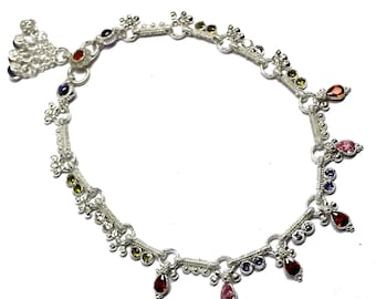 c64c0605c Solid Silver Women Wedding Anklet, Multi Gemstone Women Anklet, 925  Sterling Silver Anklet, Women Silver Jewelry, Silver Gemstone Anklet