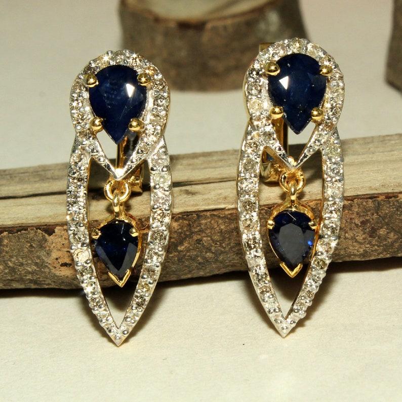 14k Gold Plated Earring,Women Earring,Stud Earring Gold 2.21 CT Natural Blue Sapphire Earring,Sapphire Stud earring,Sterling silver Earring