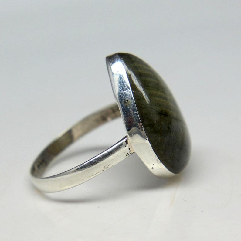 Natural Labradorite Pear Cabochon Gemstone Ring Beautiful Ring Ring For Unisex Size 8.50 US Sterling Silver Labradorite Ring Unisex Ring