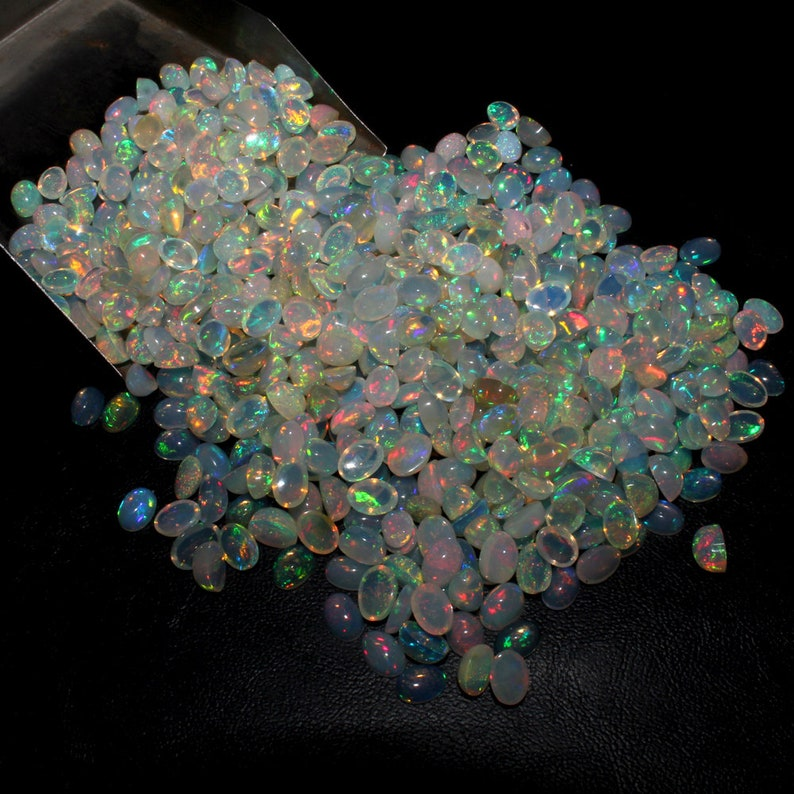 100 Pieces wholesale lot AAA Quality Natural Ethiopian Opal Cabochon Calibrated Gemstone,Flashy Multi Fire Welo Fire Opal 6x4mm Oval Stone