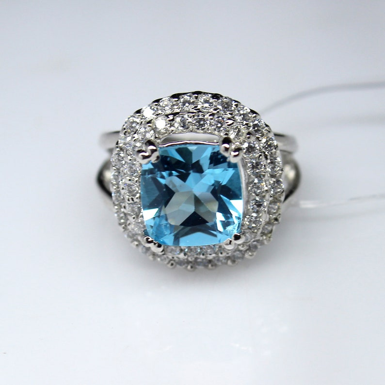 Women Ring Natural Cushion Blue Topaz Ring Engagement Ring 925 Sterling Silver Women Ring Gift For Her Anniversary Ring Promise Ring