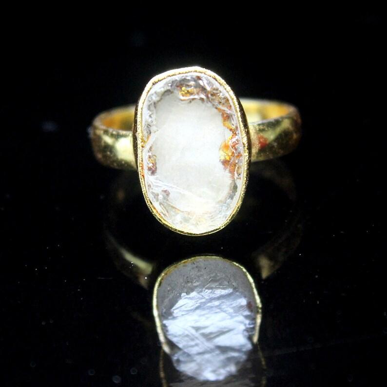 Raw Gemstone Ring Beautiful Women Handmade Ring Natural Crystal Rough Gemstone Ring Stackable Ring Gift For Her Lovely Designer Ring