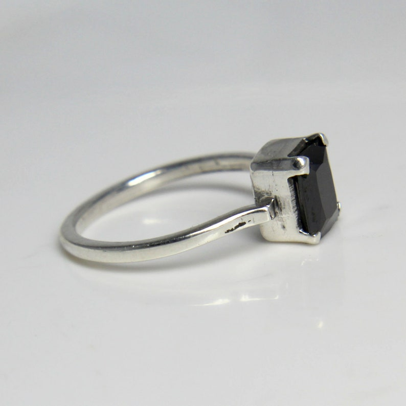 Women Ring Black Spinal Square Cut Gemstone Designer Ring Gift For Her Sterling Silver Black Spinal Ring Beautiful Ring Size 7.00 US