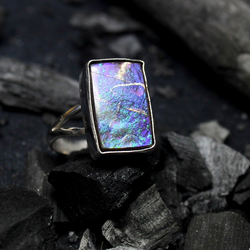 Ammolite Jewelry US Size 8.00 Designer Ring Natural Canadian Blue Fire Ammolite Cabochon Gemstone Ring Ammolite Silver Plated Ring