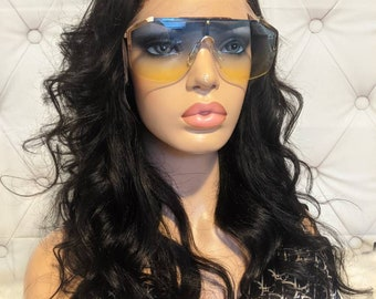 """HD """"High Definition"""" 18"""" NaturalWave GLUELESS LACE Front Indian Human Hair Wig w/ Bleached Knots & Pre-plucked Natural Hairline!"""