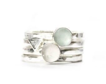 Water Woman - Ocean stacking ring for woman of the water. Two pieces of North Devon sea glass alongside the alchemy symbol of water element
