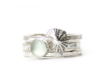 Barricane Tides -  Ocean stacking ring - A beautiful combo of a Barricane sea glass and a fine silver cast of a Barricane limpet shell.