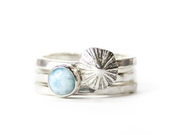 Blue Drifter - A beautiful combo of the ocean gemstone larimar and a fine silver cast of a limpet shell from Barricane Beach, North Devon