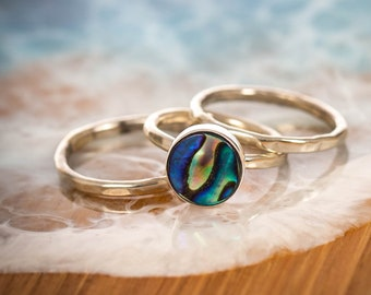 Blue Echos - Saltwater Souls recycled sterling silver paua shell hammered effect stacking ring, abalone ring, mermaid ring, surfer girl