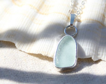 Salt Tribe - Saltwater Souls recycled sterling silver seafoam sea glass necklace. North Devon sea glass.