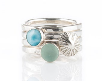 Teahupo'o - A beautiful combo of the ocean gemstone larimar, a piece of North Devon sea glass and a fine silver cast of a limpet shell - N