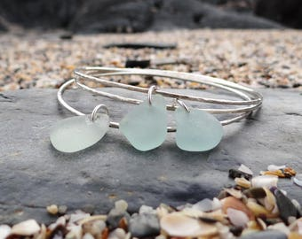 Salt and Silver - Saltwater Souls recycled sterling silver seafoam sea glass handmade hammered effect charm bangle