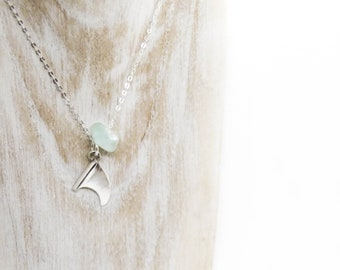 Single Fin Blue Necklace - Saltwater Souls Fine Silver (.999) handmade Surfboard Fin and sea glass charm necklace