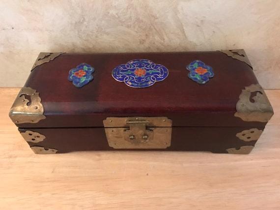 Asian Jewelry Box With Enameled Accents,decorative jewelry chest,treasure chest keepsake box,girlfriend gift,jewelry armoire,stash box