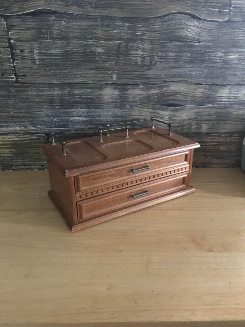 Vintage Mele Mens Jewelry Box and Valet,mens caddy,masculine gift,oak jewelry box,mens retro gift,wallet organizer,pirate gift,mens grooming