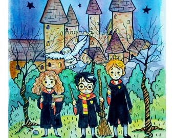 Harry Potter, Ron and Hermione Watercolor Art Print