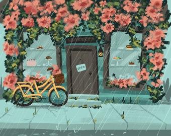 Rainy Day at the Bakery Art Print