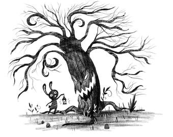 Creepy Tree and Bunny Holding a Lantern Art Print