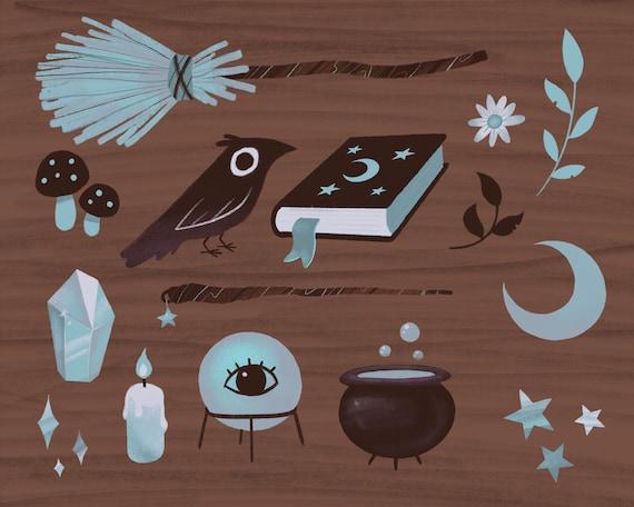 Lunar Witch Items Art Print