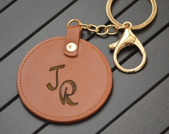 d30214ee2 Custom Leather Circle Key Fob, Monogrammed Personalized Full Grain Leather  Key Chain. Initial, Name or Logo Engraved Key Chain.