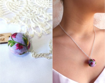 Felted Jewelry hand embroidery art floral embroidered pendant felt ball necklace mini embroidery pendant and chain trending now Gift ideas