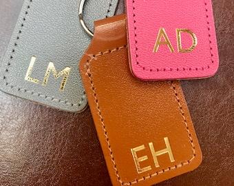 Personalised Keyring, Monogram keyring with hot foil monogram personalisation, Stocking filler, New home gift, New car gift, leather keyfob