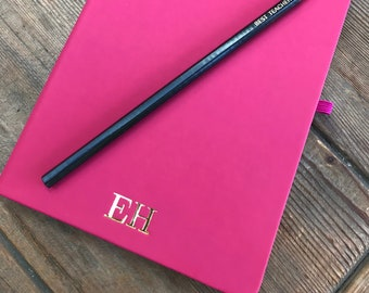 Personalised Pink A5 Notebook, Hot Pink Monogram Journal, Personalised Lined Notebook with Gold Foil Initials, Present,