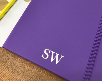 Personalised Purple A5 Notebook, Purple Monogram Journal, Personalised Lined Notebook with Gold Foil Initials, Christmas Present,