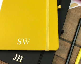 Personalised Yellow A5 Notebook, Yellow Monogram Journal, Personalised Lined Notebook with Gold Foil Initials, Thoughtful  Present,
