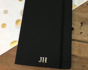 Personalised Black A5 Notebook, Black Monogram Journal, Personalised Lined Notebook with Gold Foil Initials, Christmas Present,