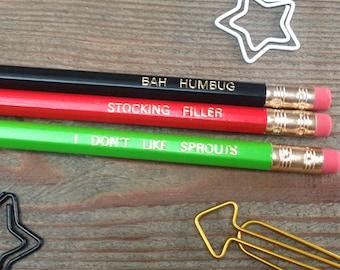 Christmas pencils, Engraved pencils, Imprinted pencils, Bah humbug, Stocking filler, Brussel sprouts, Pencil set, lead pencils,