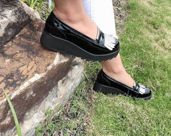 7dd9b21c80b Penelope Leather Wedge Oxfords- Women Handmade Shoes -Oxford Shoes-Slip on  Shoes -Blue Leather -Wedge Loafers- Fringe- Women Oxfords- Spring