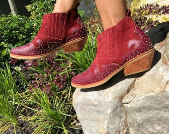 eb4a9d0c8c Lush Western Ankle Boots- Pointy shoes -Women Shoes -Burgundy Leather Shoes  -Slip on Shoes-Studded boots-Genuine Leather-Handmade Shoes
