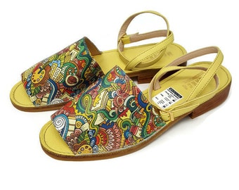 e2bdb5ad45a15 Monarca-Leather Sandals-Multicolored Print Leather-Flat Sandal Shoes -  Women Shoes -Handmade women Shoes- Genuine Leather- Ankle strap-