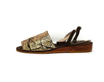 Aglais Leather Shoes- Bronze Print Leather- Flat Sandal Shoes - Women Shoes - Slip on Flat sandals- Genuine Leather