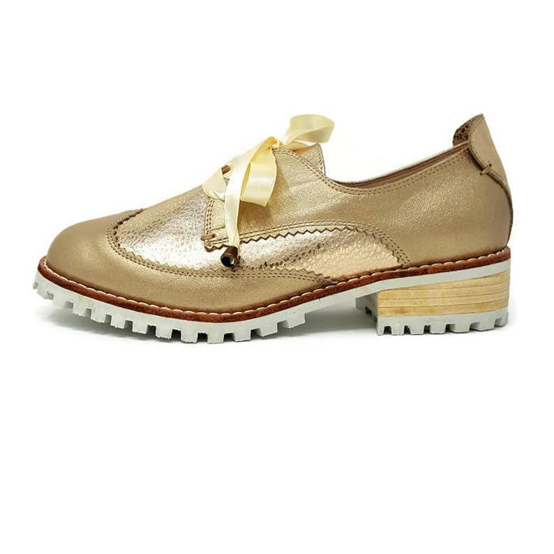 69d2dfd08ff00 Angeline Leather Shoes- Oxford shoes - Women Shoes -Flat Shoes -Oxfords for  women - Gold Leather Shoes -Lace up Shoes- Genuine Leather