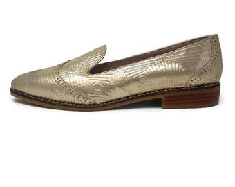 Sofia Leather Shoes- Loafer shoes -  Women Shoes -Flat Shoes -Women Gold loafers Shoes -Slip on Shoes- Textured Leather