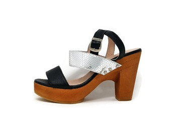 Leather Heel Sandal - Black and Silver Leather -Sandal Shoes - Women Shoes - Wooden Platform heel- Genuine Leather- Ankle Strap- Chic Shoes