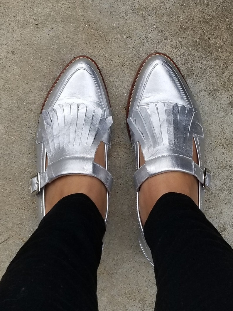 c585863a5bcd4 NEW Vienna Monk Loafers Leather Shoes-Fringe Loafers shoes -Women Shoes  -Flat Shoes -Loafers for women Silver Leather -Monk Straps-Handmade