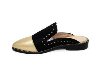 NEW Anabelle Leather Shoes- Pointy shoes -  Women Shoes -Flat Shoes -Loafer Mule for women -Black hair/Gold Leather Shoes -Slip on Shoes-