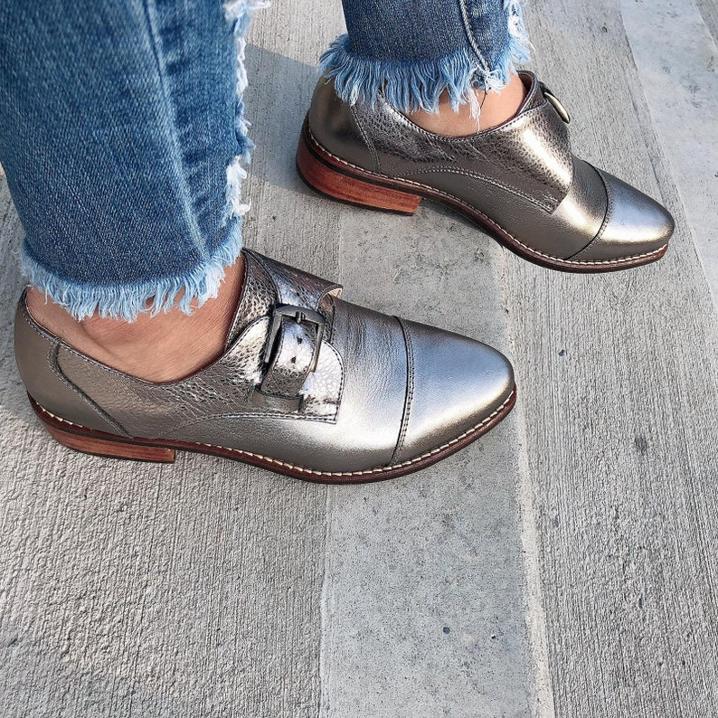 a7c5ea36fa060 London Monk Oxford Leather Shoes- Oxford shoes -Women Shoes -Flat Shoes  -Women Oxfords -Platinum Leather Shoes -Monk Straps-Handmade Shoes