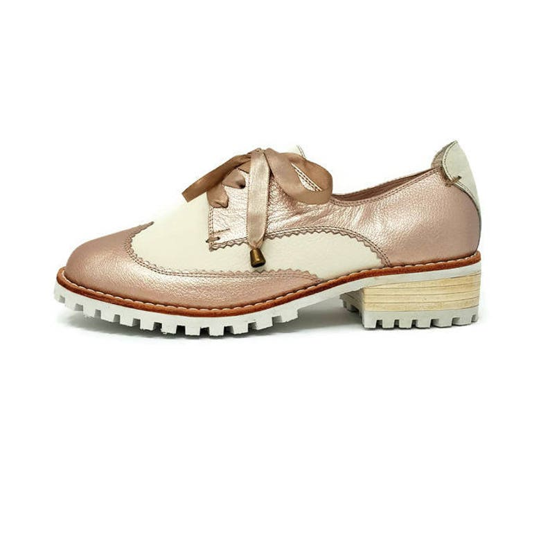 427987d2a44b2 Angeline Leather Shoes- Oxford shoes - Women Shoes -Flat Shoes -Oxfords for  women -Rose Gold Leather Shoes -Lace up Shoes- Genuine Leather