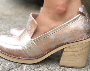 NEW Irene  Leather Loafers- Women Handmade Loafers -Women Shoes - Stacked Heel Shoes -Women Rose Gold Shoes -Slip on Shoes- Textured Leather