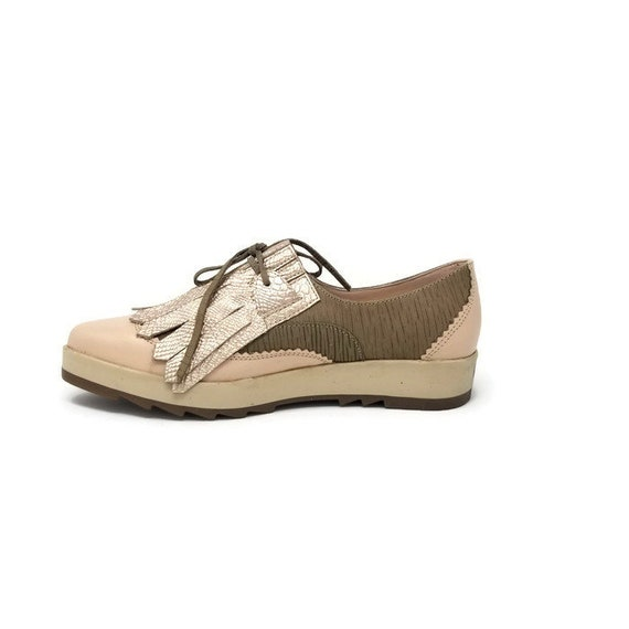 9ecc52f29bcf0 Bailey Fringe Oxford Shoes-Women Shoes-Flat Shoes -Women Oxford -Taupe/Nude  Leather Shoes-Lace up Shoes- Pointed Shoes-Handmade Shoes