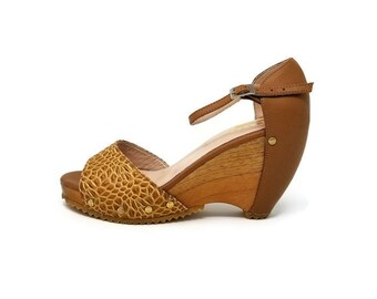 Honey Leather Shoes- Caramel Leather -Wooded wedge Sandal Shoes - Women Shoes- Wooden Platform- Genuine Leather- Ankle Strap- Handmade Shoes