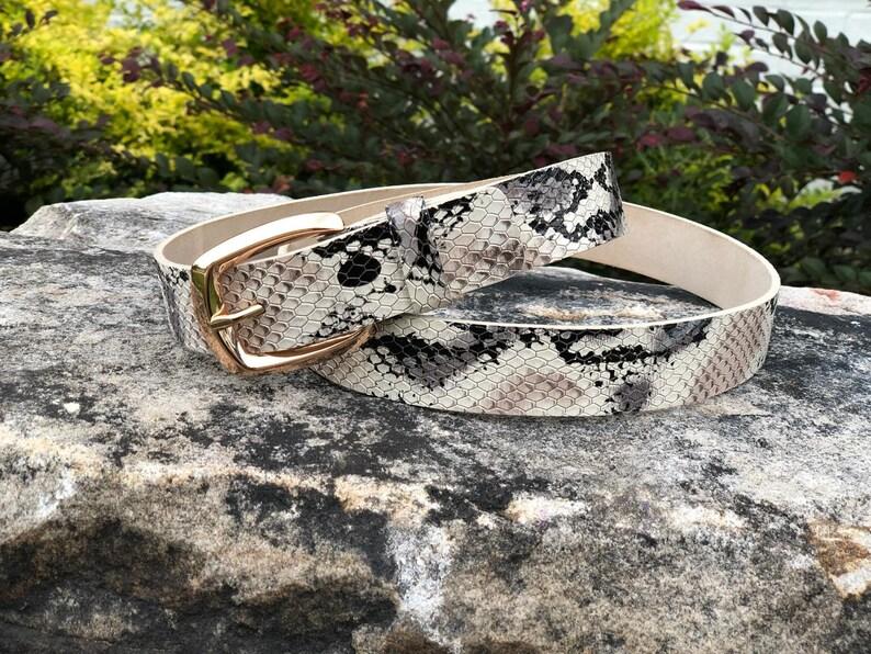 ba498d4062d Handmade Leather Women s belts Snake print belt