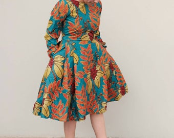 women Afrcan print long sleeve knee length dress ankara dress with side pocket Afrcan fashion African style African clothing