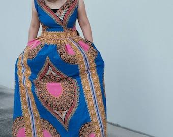 women ankara maxi Dress/ summer dress/ Ankara print/ African dress Full length