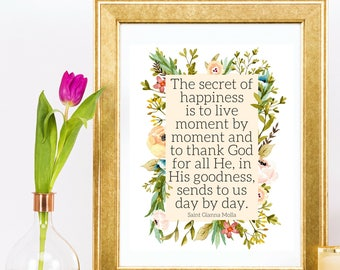 Saint Gianna Beretta Molla Thank God Happiness Saint Quote Catholic Wall Art Printable