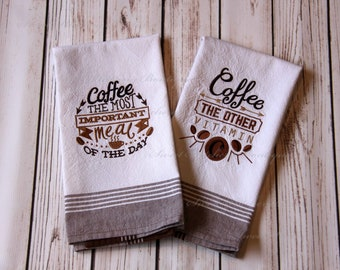 Embroidered Coffee Lovers Kitchen Towel